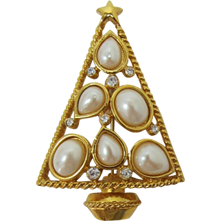 Gold-tone Christmas Tree Pin with Imitation Pearls