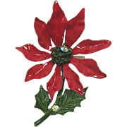 Bright Red Enameled Poinsettia Pin with AB Rhinestones