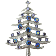 Silver Starr Christmas Tree Pin with Purple Rhinestones - Book Piece