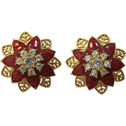 Gold and Red Poinsettia Pierced Christmas Earrings