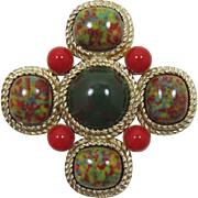 Large Sarah Coventry Colorful Maltese Cross Brooch