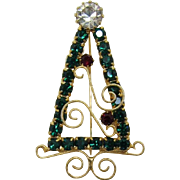 Gold-tone Curlicue and Green Rhinestone Christmas Tree Pin