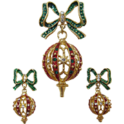 Christmas Ornament Brooch and Earring Set