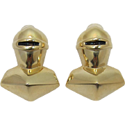 Large Bright Gold-tone Knight in Armor Earrings - Frank DeLizza's Archives