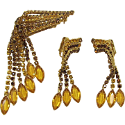 Topaz Waterfall Brooch and Earring Set - Fabulous