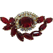 Ruby Red Navette and AB Rhinestone Brooch