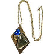 Kay Denning Modernistic Enameled Pendant Necklace - Fall Colors