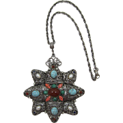 Large Pendant Necklace with Imitation Semi-Precious Stones