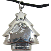 Sterling Silver Puffy Christmas Tree Pendant on Silky Cord