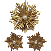 Bright Gold-tone Boucher Sunburst Brooch and Earrings