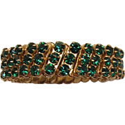 Japan Emerald-Green Rhinestone Expandable Bracelet