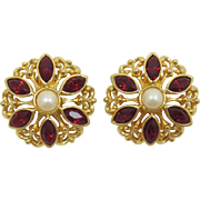 Avon Large Gold-tone and Red Navette Earrings