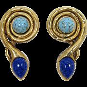 Huge Gold-tone Stylized Snake Earrings