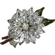 Coro Duette Rhinestone and Enameled Single Flower Clip