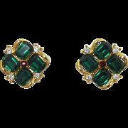 Red and Green Christmas Rhinestone Earrings