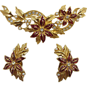 Avon Poinsettia Christmas Brooch and Earrings Set