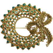 Gold-tone and Green Christmas Wreath Brooch