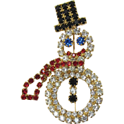 Red, Black and Clear Rhinestone Frosty the Snowman Pin