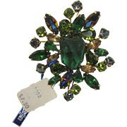 Weiss Brooch with Green Rhinestones and Original Tags