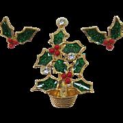 Avon Green Enameled Poinsettia Christmas Tree Pin and Earrings