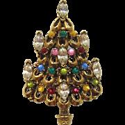 Unsigned Hollycraft Multi-Colored Rhinestone Christmas Tree Pin - Book Piece
