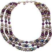 Three Strand Purple, Orchid, Pink and Deep Purple Beaded Necklace