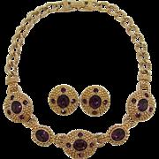 Signed Swarovski Deep Purple Rhinestone Necklace and Earrings