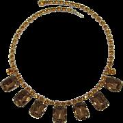 Large Colorado Topaz and Topaz Rhinestones Necklace