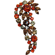Unsigned Claudette Brooch with Orange and Smoky Topaz Rhinestones