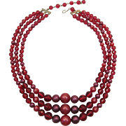 Three Strand Pink and Purple Beaded Necklace