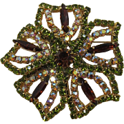 Large Flower Brooch with Olivine and Smoky Topaz Rhinestones