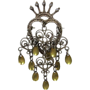 Norway Sterling Silver Solje Brooch with Heart and Crown