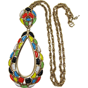 Trifari Multi-colored Modern Mosaics Pendant Necklace