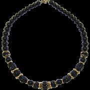 Trifari Single Strand Black and Gold-tone Beaded Necklace
