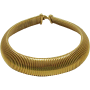 1980's Monet Wide Wide Gold-tone Gas Pipe Necklace