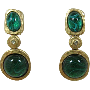 Kenneth Lane Matte Gold-tone Earrings with Large Flawed Emerald Cabochons