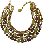 West Germany Four Strand Necklace Chartreuse and Smoky Topaz Beads