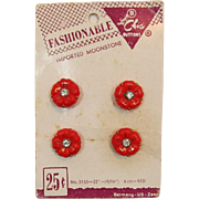 Le Chic Red Glass Flower Buttons with Clear Rhinestones
