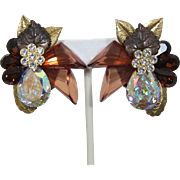 1980's Earrings with Large Pear-Shaped AB Rhinestones