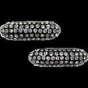 Art Deco Black Thermoplastic and Rhinestone Shoe Clips