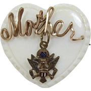 """WWII Mother-of-Pearl Heart-Shaped """"Mother"""" Pin with U.S. Army Emblem"""