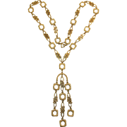 Trifari Long Dangling Necklace with Modernist Links