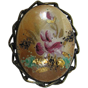 Colorful Painted Flower Cabochon Brooch/Pendant