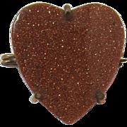 Pretty Goldstone Heart-Shaped Pin