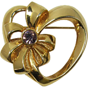 Avon Heart and Birthstone Jewel of the Month Brooch - February