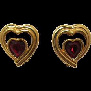 Swarovski Triple Heart Earrings with Heart-Shaped Red Rhinestone