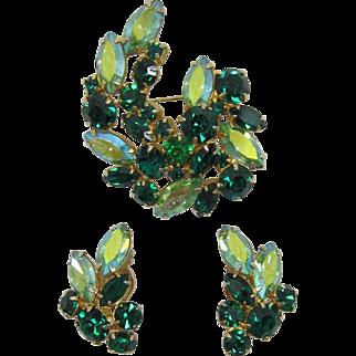 Beautiful Green Rhinestone Brooch and Earring Set