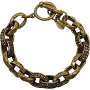 Chico's Antique Gold-tone Link Bracelet with Colorado and Smoky Topaz Rhinestones