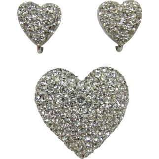 1950's Heart Shaped Brooch and Earring Set with Clear Rhinestones