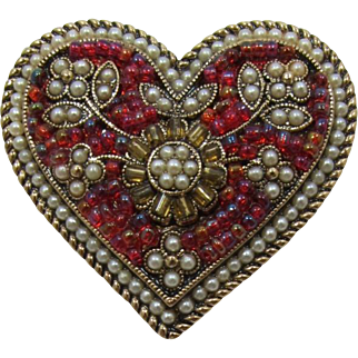 Liz Claiborne Heart-Shaped Brooch with Pink-Red Beads